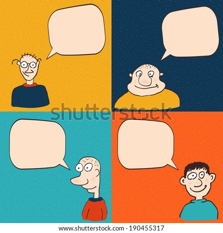 Comic faces with speech bubbles. Vector eps10 illustration - stock vector