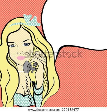 Comic girl in the style of pop art. Beautiful young blond woman with a phone in his hand on a red background. vector - stock vector