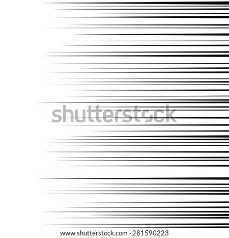 Comic horizontal speed lines background - stock vector