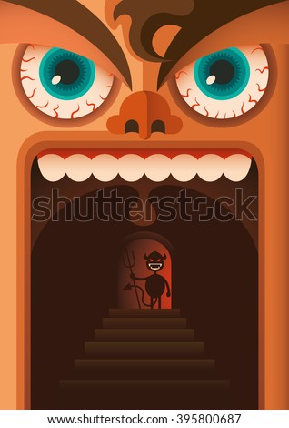 Comic illustration of angry guy. Vector illustration. - stock vector