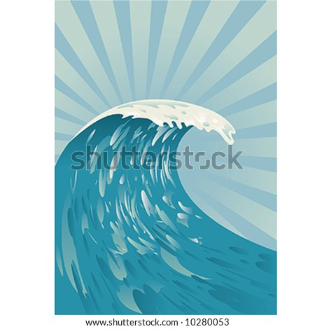 comic japanese wave - stock vector