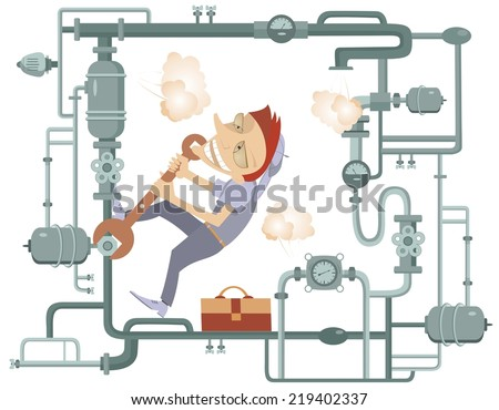 Comic mechanic hardly tightens the bolt and repairs pipe construction - stock vector