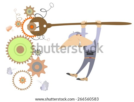 Comic mechanic repairs construction using a big spanner  - stock vector