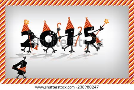 Comic 2015 New Year's Eve character, vector - stock vector