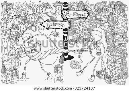 Comic picture with Santa, snowman, pointer. Santa at the crossroads. Snowman pulls Santa's beard.  Halloween and Christmas Doodles. Black and white pattern.  Made by trace from sketch. - stock vector