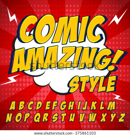 Comic retro yellow alphabet set. Letters, numbers and figures for kids' illustrations, websites, comics, banners. - stock vector