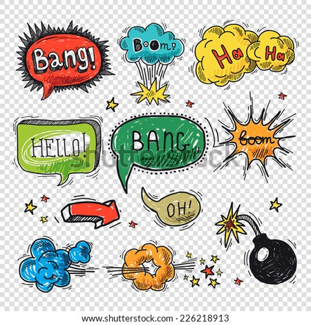 Comic speech bubble hand drawn design element symbol boom splash bomb vector illustration. - stock vector