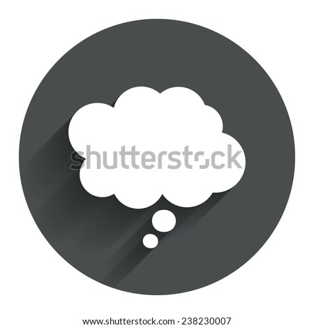 Comic speech bubble sign icon. Chat think symbol. Circle flat button with shadow. Modern UI website navigation. Vector - stock vector