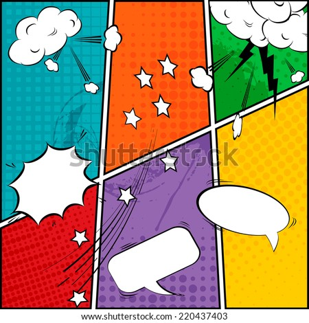 Comic speech bubbles and comic strip background vector illustration - stock vector