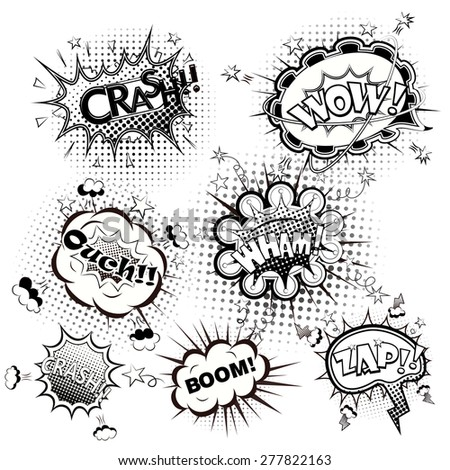 Comic speech bubbles black and white vector - stock vector