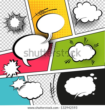 Comic Speech Bubbles on a comic strip background, vector illustration - stock vector
