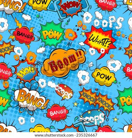 Comic speech bubbles seamless pattern vector - stock vector