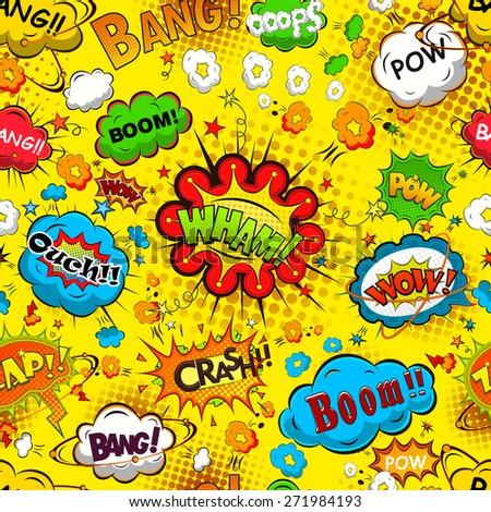 Comic speech bubbles seamless pattern vector illustration - stock vector