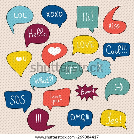 Comic speech bubbles set. - stock vector