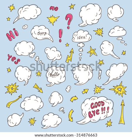 Comic Speech Bubbles, signs and elements - hand drawn doodle set - stock vector