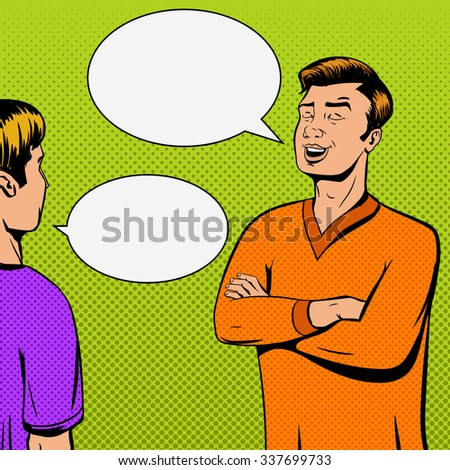 Comic strip with debate of two persons and disappointing vector illustration. Comic book imitation. Pop art retro style - stock vector