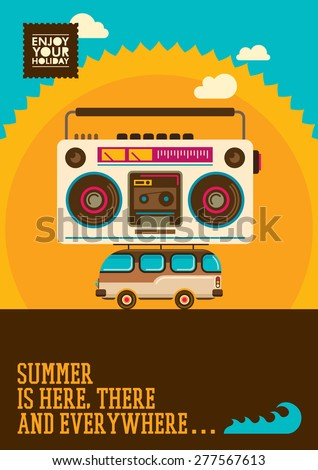 Comic summer poster. Vector illustration. - stock vector