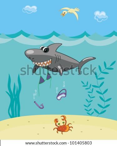 Comic vector illustration. The big cartoon shark ate the girl. - stock vector