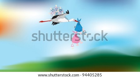 Comic vector image of a stork carrying two twins - stock vector