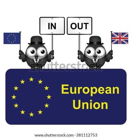 Comical bird campaigners for the United Kingdom in or out European Union referendum isolated on white background - stock vector