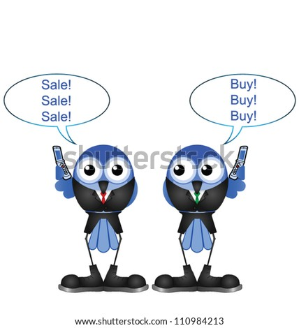 Comical bird stock traders buying and selling shares isolated on white background - stock vector