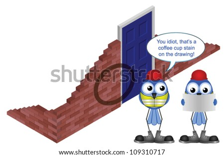 Comical construction workers with coffee stain on drawing - stock vector