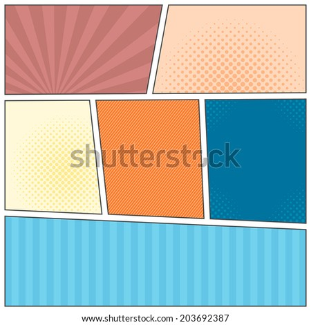 Comics popart layout template - stock vector