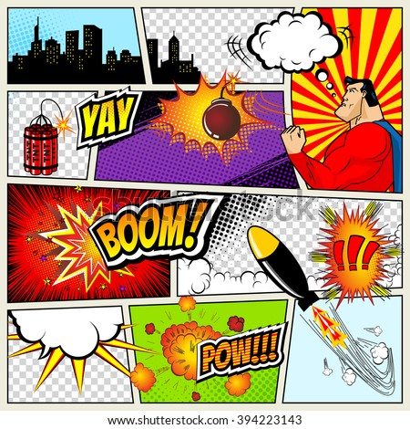 Comics Template. Vector Retro Comic Book Speech Bubbles Illustration. Mock-up of Comic Book Page with place for Text, Speech Bubbls, Symbols, Sound Effects, Colored Halftone Background and Superhero - stock vector