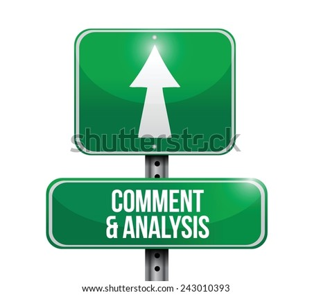 comment and analysis road sign illustration design over a white background - stock vector