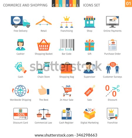 Commerce And Shopping Colorful Icons Set 01 - stock vector