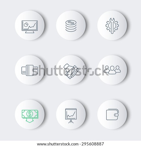 commerce, finance, payments line round modern icons, vector illustration, eps10, easy to edit - stock vector