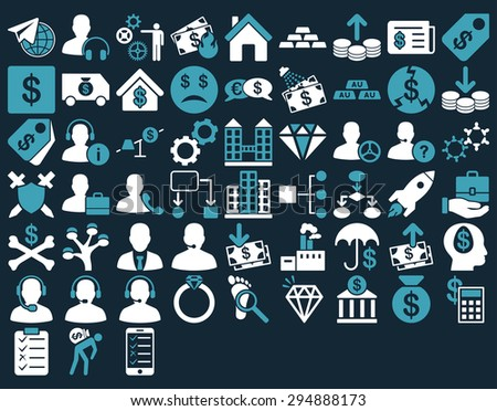 Commerce Icon Set. These flat bicolor icons use blue and white colors. Vector images are isolated on a dark blue background.  - stock vector