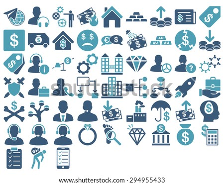 Commerce Icon Set. These flat bicolor icons use cyan and blue colors. Vector images are isolated on a white background.  - stock vector