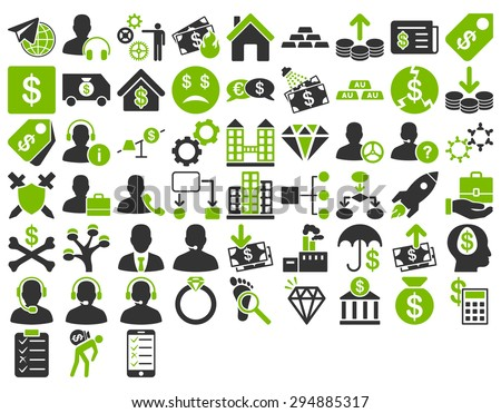 Commerce Icon Set. These flat bicolor icons use eco green and gray colors. Vector images are isolated on a white background.  - stock vector