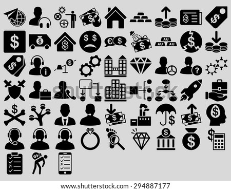 Commerce Icon Set. These flat icons use black color. Vector images are isolated on a light gray background.  - stock vector