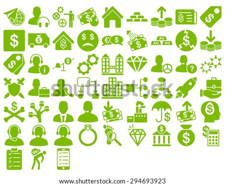 Commerce Icon Set. These flat icons use eco green color. Vector images are isolated on a white background.  - stock vector