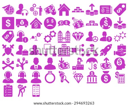 Commerce Icon Set. These flat icons use violet color. Vector images are isolated on a white background.  - stock vector