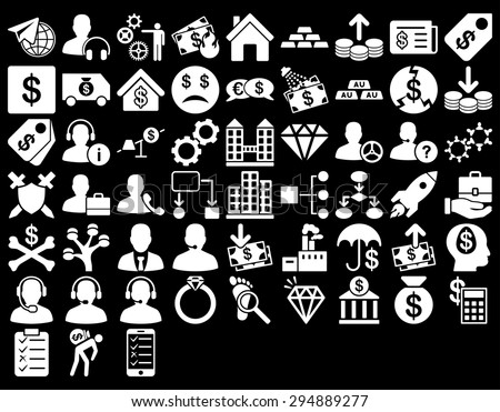 Commerce Icon Set. These flat icons use white color. Vector images are isolated on a black background.  - stock vector