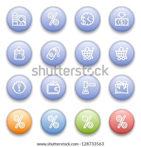 Commerce icons on color buttons. - stock vector