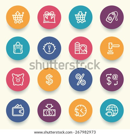 Commerce icons with color buttons on gray background. - stock vector