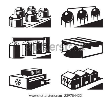 Commercial and industrial warehouses - vector illustration - stock vector