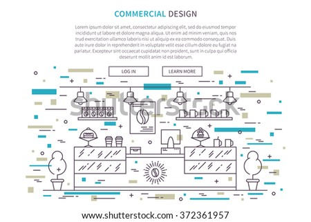 Commercial Interior design landing page linear vector illustration. Line graphic design of cafe, pastry shop, bakery. Creative concept of flat interior design website page (banner).  - stock vector