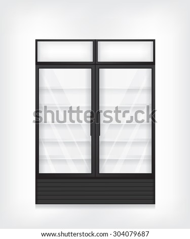 Commercial refrigerator with two door - stock vector