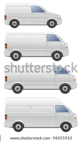 Commercial van icons set. - stock vector