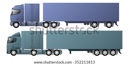 Commercial vehicles with dromedary tractors and their trailers - stock vector