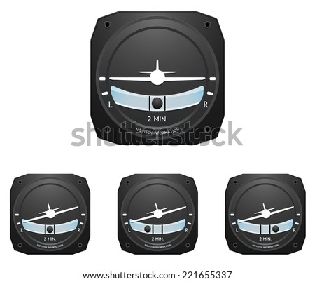 Common airplane cockpit instrument, turn coordinator, in three different turning positions. Coordinated turn, slip and skid.  - stock vector
