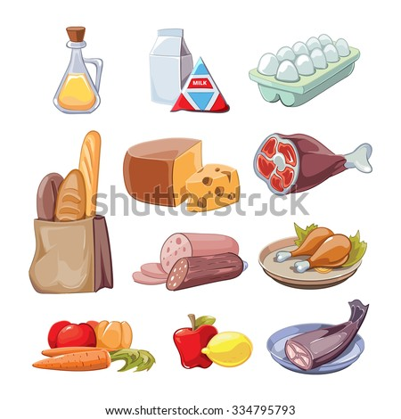 Common everyday food products. Cartoon icons set  provision, cheese and fish, sausagesand milk, vector illustration - stock vector