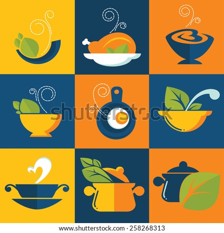 common food in flat style, vector icons collection - stock vector