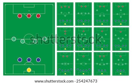 common modern soccer formation set - stock vector