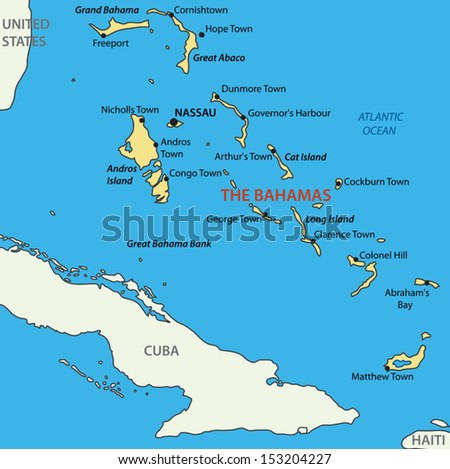 Commonwealth of the Bahamas - vector map - stock vector